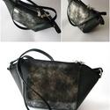 Fekete, ezüst fekete hüllőmintás bőr táska