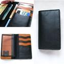Fekete barna minimalista kártyatartós bőr pénztárca, irattartó tárca