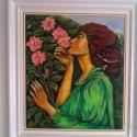 """"""" A nyár  illata"""", Képzőművészet, Festmény, Olajfestmény, Festészet,  Az illatozó rózsa,a szerelem és a vágyódás összefonódik.Farostlemezre olajjal festettem,matt lakka..., Meska"""