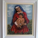 """""""Pihenő"""", Képzőművészet, Festmény, Olajfestmény, Festészet, Az anyaság csodálatos érzése sugárzik a ligetben megpihenő,ölében gyermekét taró nőalak arcán, aki ..., Meska"""