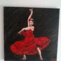 """"""" Tűz """", Képzőművészet, Festmény, Olajfestmény, Vérpezsdítő zene,tánc,szenvedély és tűz ez maga a flamenco. A fakeretre feszített vászonra ..., Meska"""