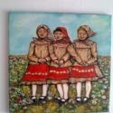 """"""" Pacsirták """", Képzőművészet, Festmény, Olajfestmény, Kis dalos madarakat láttam meg a réten, boldogan, önfeledten énekelték a szép magyar népdalok..., Meska"""