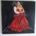 """"""" Flamenco """", Képzőművészet, Festmény, Olajfestmény, Férfi és nő,ölelés,a zene által átitatva,e szenvedélyes táncban kibontakozva. A fakeretre f..., Meska"""