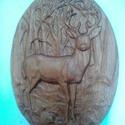 Szarvas - faragás, Dekoráció, Kép, Tölgyfából, CNC faragással készült szarvas. Felülete lenolajjal kezelt. 26 × 18,5 cm , Meska