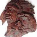Indián- farkas- sas - faragás, Képzőművészet, Dekoráció, Kép, 18 × 15 ×2,3 cm méretű CNC faragással készült falikép. Anyaga: akácfa Felülete diópáccal, lakkal let..., Meska