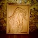 Ló - faragás, Képzőművészet, Napi festmény, kép, Bükkfából, CNC faragással készült lovas falikép. Felülete lenolajjal kezelt., Meska