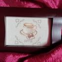 Keresztszemes hímzés - kávé imádóknak, Otthon & lakás, Dekoráció, Kép, Keresztszemes hímzés, kávé imádóknak.  Mérete: 10*15 cm. A képkeret dekoráció.    , Meska
