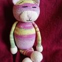 """Horgolt  """"cirmos"""" cica, Otthon & lakás, Dekoráció, Amigurumi technikával, teljes egészében kézzel horgolt színes, """"cirmos"""" cica.  Teljes hossza kb. 28 ..., Meska"""