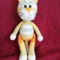 Horgolt színes cica, Otthon & lakás, Dekoráció, Amigurumi technikával, teljes egészében kézzel horgolt, színes cica.  Magassága  kb. 23 cm.  Pamutta..., Meska
