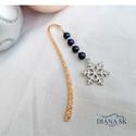 Hópihe könyvjelző - Indigókék Swarovski gyöngyökkel, Gyönyörű rózsa-arany színű hullám mintás k...