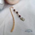 Cica könyvjelző II- Gyönyörűk Swarovski gyöngyökkel, Gyönyörű rózsa-arany színű hullám mintás k...
