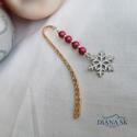 Hópihe könyvjelző II- Gyönyörűk Swarovski gyöngyökkel, Gyönyörű rózsa-arany színű hullám mintás k...