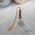 Hópihe könyvjelző III- Gyönyörűk Swarovski gyöngyökkel, Gyönyörű rózsa-arany színű hullám mintás k...