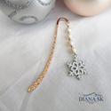 Hópihe könyvjelző IV- Gyönyörűk Swarovski gyöngyökkel, Gyönyörű rózsa-arany színű hullám mintás k...