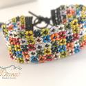 Virágoskert - Gyöngykarkötő, Apró, színes, japán gyöngyökből fűzött, vi...