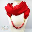 Ékszerkendő kerámia gyöngyökkel - középhosszú - vörös, Vörös chiffonból készült ékszerkendő. Az é...