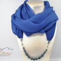 Ékszerkendő gyöngyökkel - hosszú - Kék, Kék chiffonból készült ékszerkendő. Az éksz...