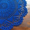 Kék horgolt terítő, Dekoráció, Otthon, lakberendezés, Ünnepi dekoráció, Lakástextil, 30 cm átmérőjű sötétkék horgolt terítő 100 % jó minőségű pamut fonalból. , Meska