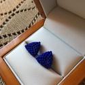 Peyote bedugós fülbevaló, Ékszer, Ruha, divat, cipő, Szerelmeseknek, Fülbevaló, Gyöngyfűzés, Ékszerkészítés, Miyku delica gyöngyből fűztem ezt a matt kék fülbevalót.  Mérete: 1 cm x 1 cm, Meska