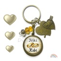 Egyedi kulcstartó, névre szóló eljegyzési ajándék, karikagyűrűs kulcstartó, ajándék szerelmeseknek, Szerelmeseknek, Esküvő, Mindenmás, Kulcstartó, Egyedi, névre szóló kulcstartó eljegyzéshez, szerelmeseknek.  Kérhető ezüst vagy bronz színben, több..., Meska