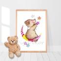 Macis falikép, babaszoba gyerekszoba dekoráció, mackós kép, kisfiú kislány uniszex ajándék, hold, éjszaka, álom, csillag, Aranyos, macis akvarell, nyomtatott falikép gyere...