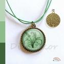 Az élet fája, zöld színű nyaklánc, modern mintás medál, zöld ékszer, bronz életfa, Ékszer, Medál, Nyaklánc, Ékszerszett, Zöld színű, életfa mintás nyaklánc, (fülbevaló, gyűrű)  A kép átmérője 25 mm, a fülbevaló és a gyűrű..., Meska