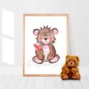 Macis falikép gyerekszobába, babaszoba dekoráció, maci medve, ajándék gyerekeknek, nyomtatott akvarell, erdei állatok, Otthon, lakberendezés, Baba-mama-gyerek, Gyerekszoba, Baba falikép, Aranyos, állatkás akvarell, nyomtatott falikép gyerekszobába  A4-es méretű, kiváló minőségű, 220 gra..., Meska