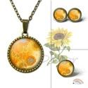 Napraforgó mintás nyaklánc, sárga narancssárga virágos medál, nyári őszi ékszer, virágmintás vidám ékszerszett, Napraforgó mintás nyaklánc, (fülbevaló, gyűr...