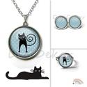 Cica sziluettes, kék pettyes nyaklánc, cicás medál, macskás ékszerszett, pöttyös ékszer, fekete macska , Cicás, pettyes nyaklánc, (fülbevaló, gyűrű) ...