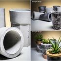 Design beton mini kaspó, Otthon, lakberendezés, Dekoráció, Szobrászat, Egyedi , márványos struktúrával is elérhető , kézzel készített beton kaspó. 6 cm-es műanyag ültető ..., Meska