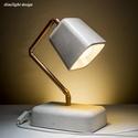 Design beton asztali lámpa ELFOGYOTT !, Otthon, lakberendezés, Lámpa, Asztali lámpa, Szobrászat, Egyedi asztali betonlámpa rézzel megfűszerezve.  Rendelhető más színösszeállításban is. Fehér, márv..., Meska