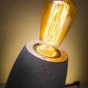 """Design beton asztali lámpa """" edison """", Otthon, lakberendezés, Lámpa, Hangulatlámpa, Asztali lámpa, Szobrászat, Egyedileg készített, beton design asztali lámpa, edison izzóval ! Az ár tartalmazza az izzót is! 1,..., Meska"""