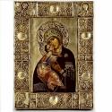 volokamskaja ikon, Dekoráció, Otthon, lakberendezés, Képzőművészet, Szobor, Festészet, Szobrászat, Volokamskaja ikon leírása: Mária gyerekkel pöttyös fejdísszel fa alapon olajfestés,a háttér bizánci..., Meska