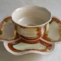 reggeliző szett, Dekoráció, Konyhafelszerelés, Otthon, lakberendezés, Virág formájú és mintájú egyszemélyes reggeliző szett, mely egy kistányérból 22 cm és egy csészéből ..., Meska