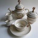 2 személyes teás készlet, Konyhafelszerelés, Otthon, lakberendezés, Bögre, csésze, Tibeti porcelán készlet, mely egy teáskannából (5.2dl), egy cukortartóból (2dl), két csészéből (1.3d..., Meska