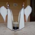Tiffany dupla angyalos mécsestartó, Otthon, lakberendezés, Karácsonyi, adventi apróságok, Gyertya, mécses, gyertyatartó, Karácsonyi dekoráció, Üvegművészet, Spektrum üvegből, tiffany technikával készített mécsestartó. Sajnos a gyertyafény játékát az üvegen..., Meska