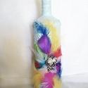 Velencei karnevál, Otthon & lakás, Dekoráció, Dísz, Festett tárgyak, Gyurma, Az újrahasznosított üveget gyűrt hatásúra alapoztam majd világoskékre festettem, Az elejére egy 5cm..., Meska