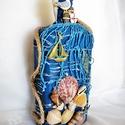 Tengert imádóknak3, Otthon & lakás, Dekoráció, Dísz, Festett tárgyak, Újrahasznosított alapanyagból készült termékek, Az újrahasznosított üveget textillel  borítottam és kékre festettem, a tenger hullámzását imitálva ..., Meska