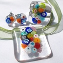 Nyári virágzuhatag üvegékszer, ajándék névnapra, születésnapra, évzáróra tanárnéniknek.., Ékszer, óra, Ékszerszett, Medál, Nyaklánc, Ékszerkészítés, Üvegművészet, Fusing technikával készült üvegmedál, gyűrű és fülbevaló. Átlátszó muránói  üvegből olvasztottam, s..., Meska