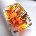 Borostyán - méz színű gyűrű, üvegékszer  ajándék nőknek ., Ékszer, óra, Ékszerszett, Medál, Gyűrű, Ékszerkészítés, Üvegművészet, Fusing technikával készült gyűrű. Átlátszó, méz és borostyán színű üvegekből olvasztottam. Fénye mi..., Meska