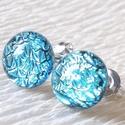 Exkluzív ezüstkék üveg fülbevaló  , ajándék  névnapra, születésnapra., Ékszer, Fülbevaló, Medál, Nyaklánc, Ékszerkészítés, Üvegművészet, Fusing technikával készült fülbevaló. Világos ezüstkék exkluzív tükrös bevonatú dichroic üvegből  o..., Meska