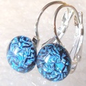 Exkluzív kék kapcsos  fülbevaló  , ajándék  névnapra, születésnapra., Ékszer, óra, Fülbevaló, Medál, Nyaklánc, Ékszerkészítés, Üvegművészet, Fusing technikával készült fülbevaló. Kék exkluzív tükrös bevonatú dichroic üvegből  olvasztottam, ..., Meska