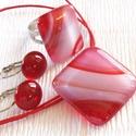 Piros-fehér mintás üvegékszer szett, ajándék tanárnéniknek évzáróra, névnapra, születésnapra., Ékszer, óra, Ruha, divat, cipő, Ékszerszett, Gyűrű, Ékszerkészítés, Üvegművészet, Fusing technikával készült, ez az elegáns ékszerszett. Piros - fehér mintás ékszerüvegből olvasztot..., Meska