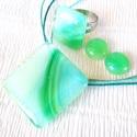 Kék-zöld mintás üvegékszer szett, ajándék tanárnéniknek évzáróra, névnapra, születésnapra., Ékszer, óra, Ruha, divat, cipő, Ékszerszett, Medál, Ékszerkészítés, Üvegművészet, Fusing technikával készült, ez az elegáns ékszerszett. Kék-zöld mintás ékszerüvegből olvasztottam. ..., Meska