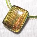 Zöld-arany üvegékszer nyaklánc, ajándék karácsonyra, névnapra, születésnapra., Ékszer, óra, Gyűrű, Nyaklánc, Medál, Ékszerkészítés, Üvegművészet, Fusing technikával készült üvegmedál.  Zöld-arany színű csillogó dichroic üvegből olvasztottam, mel..., Meska