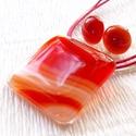Narancsos-piros mintás üvegékszer szett, ajándék tanárnéniknek évzáróra, névnapra, születésnapra., Ékszer, óra, Ruha, divat, cipő, Ékszerszett, Gyűrű, Ékszerkészítés, Üvegművészet, Olvasztásos technikával készült ékszerszett. Narancsos piros mintás ékszerüvegből olvasztottam. Nik..., Meska