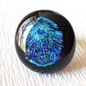 Csillagrobbanás gyűrű,  ajándék  névnapra, születésnapra., Ékszer, Medál, Gyűrű, Nyaklánc, Ékszerkészítés, Üvegművészet, Fusing technikával készült gyűrű.  Fekete minőségi ékszerüveg alapon, kék csillogó mintás dichroic ..., Meska