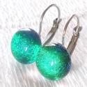 Kék-zöld ragyogás, dichroic  fülbevaló, ajándék névnapra, születésnapra., Ékszer, óra, Fülbevaló, Medál, Ékszerszett, Ékszerkészítés, Üvegművészet, Fusing technikával készült  csúcsminőségű különleges dichroic   üvegből  olvasztottam.  Nikkelmente..., Meska