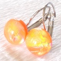 Arany narancs, kapcsos fülbevaló  , ajándék nőnek, lányoknak  névnapra, születésnapra., Ékszer, óra, Fülbevaló, Nyaklánc, Medál, Ékszerkészítés, Üvegművészet, Olvasztásos technikával készült fülbevaló. Csúcsminőségű arany és narancssárga dichroic   üvegből  ..., Meska