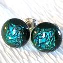 Kék-zöld gyémántfény  fülbevaló, ajándék  névnapra, születésnapra.